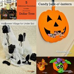 Housewife Eclectic: 5 Halloween Decorations to Make with Items from Dollar Tree. #DTAnniversary #ad