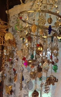 Bohemian wind chime from upcycled jewelry at the Sleepy Armadillo