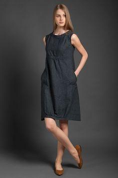 Charcoal linen dress, sleeveless knee length loose linen dress, dark grey maternity dress, linen summer dresses Dark grey sleeveless dress from