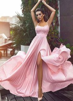 A-Line Spaghetti Straps Pink Elastic Satin Prom Dress With Lace Split M1866 dc4df1a0089f