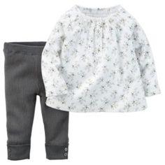Carter's Baby Girl Floral Top & Knit Pants Set
