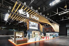 LADA - MIMS Automechanika Moscow 2018 on Behance Interior Design Exhibition, Exhibition Stall, Exhibition Stand Design, Exhibition Display, Expo Stand, Trade Show Booth Design, Public Space Design, Modern Office Design, Architect Design
