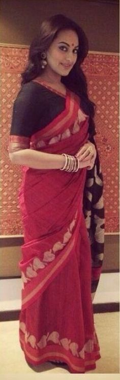Sonakshi can really carry off a simple sari with so much elan.
