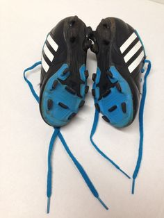 bd1ccd950ec Adidas size 13K Soccer Shoes with cleats Blue Black White  fashion   clothing  shoes
