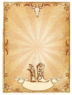 Fondo De Papel Antiguo De Vaquero Para Texto Con Marco De Decoración.Cartel Retro Fotos, Retratos, Imágenes Y Fotografía De Archivo Libres De Derecho. Image 9459668.