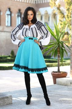 "Fusta romaneasca stofa - turcoaz cu dantela neagra - Modern Traditional Romanian blouse called ""ie"", hand sewn and embroidered with Ukrainian skirt, in modern approach."