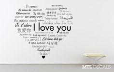 International I Love You Heart Wall Decal  A collection of I love yous in various languages, fonts, and styles shaped to form a heart :)  The entire composition measures 72 inches wide x 66.7 inches tall. This decal comes in 4 easy to install sections.  Indoor vinyl, will not leave any residue or damage on walls if removed.  Comes with test decal and instructions for application.  Let me know if youd like this in a different size! We can set up a custom order.   For more decals, check out…