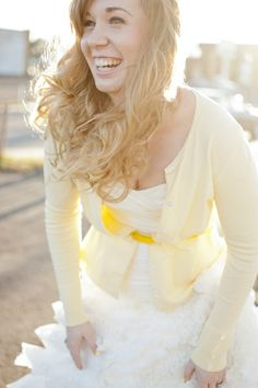 A bright yellow bridal inspiration shoot ~ with yellow balloons, a ruffled wedding dress, Toms & more! May be a thought if colder in the evening. Wedding Cardigan, Wedding Dress Sleeves, Plus Wedding Dresses, Bridesmaid Dresses, Dresses Dresses, Yellow White Wedding, Yellow Weddings, Bridal Cover Up, Amazing Weddings