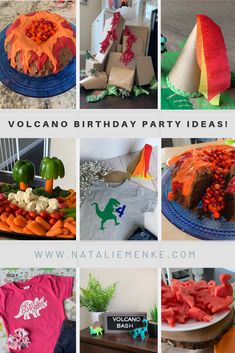 Throwing a volcano-themed birthday party has never been easier! Today's post includes inspiration for every aspect of a volcano birthday party: a chocolate volcano cake (complete with a M Birthday Party Decorations, Dinosaur Decorations, Birthday Parties, 4th Birthday, Thomas Birthday, Chocolate Volcano Cake, Dinosaur Balloons, Grilling Gifts, Singing Happy Birthday