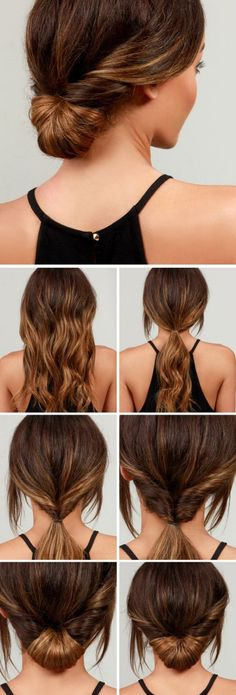 LuLu*s How-To: Simple Chignon Hair Tutorial(Curly Hair Styles) Five Minute Hairstyles, Easy Summer Hairstyles, Office Hairstyles, Haircuts For Long Hair, Quick Hairstyles, Braided Hairstyles, Fashion Hairstyles, Hairstyles 2016, Simple Hairdos