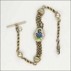 Victorian Silver Albertina Bracelet with Violets Enamel Decoration