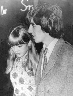 Pattie Boyd and George Harrison in Nice, France on September 18, 1965. They were on holiday with Brian Epstein in the south of France after the Beatles' long American tour that year. The photo (usually shown in full length) was published in newspapers around the world as rumors were rampant at the time that George and Pattie were about to marry.
