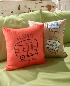 The Happy Camper Bedding Collection is perfect for any RV, camper or bedroom of a camping enthusiast. The Comforter Set features an all-over print of multiple happy campers. The Pillow Set includes one pillow with an embroidered happy camper and th Happy Campers, Camper Beds, Tiny Camper, Popup Camper, Camper Bathroom, Bathroom Storage, Twin Comforter Sets, King Comforter, Bedding Sets