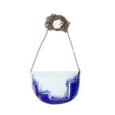 'Enfold' necklace  Cobalt & Light Blue - 80cm oxidised chain vitreous enamel, copper & sterling Silver Oxidized Sterling Silver, Sterling Silver Chains, Vitreous Enamel, Cobalt, Light Blue, Copper, Victoria, Jewellery, Polish