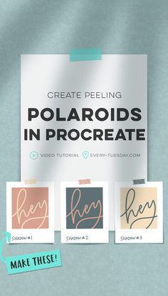 Create fun + versatile peeling polaroids in Procreate! In this video tutorial, we use 3 different shadow types for believable, peeling polaroids. Watercolor Kit, Graphic Design Tips, Graphic Art, Affinity Designer, Ipad Art, Lettering Tutorial, Peeling, Brush Lettering, White Photography