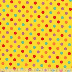 Lecien - Multi Spots On Yellow - cotton fabric