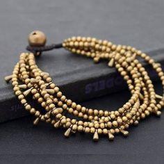 pulseira bronze com pingentes