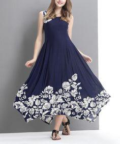 Loving this Navy Flower Handkerchief Maxi Dress on #zulily! #zulilyfinds