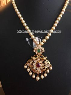 South Pearls Sets for Kids and Adults Latest Collection of best Indian Jewellery Designs. Gold Earrings Designs, Gold Jewellery Design, Gold Jewelry, Beaded Jewelry, Necklace Designs, Jewelery, Gold Designs, Gold Necklaces, Bead Jewellery