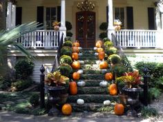 Beautiful autumn porch at the Magolia Guest House for SCAD