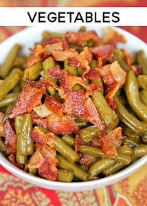 Smothered Green Beans - canned green beans baked in bacon brown sugar butter soy sauce and garlic. This is the most requested green bean recipe in our house.Everybody gets seconds. Great for a potluck. Everyone asks for the recipe! Easter Side Dishes, Vegetable Sides, Vegetable Side Dishes, Baked Green Beans, Can Green Beans, Soy Sauce Green Beans, Green Beans With Bacon, Baked Beans, Side Dish Recipes