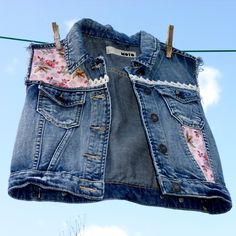 Upcycled Denim Waistcoat - Floral and Lace Customised Denim Vest - Pre teen or UK size 6   wowthankyou.co.uk