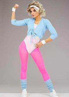 Create an Aerobics Fashion Look 80s Workout Clothes, 80s Workout Costume, 1980s Looks, 80s Fashion, Fashion Looks, Red Leotard, Leopard Print Leggings, Ladies Fancy Dress, Fitness Fashion