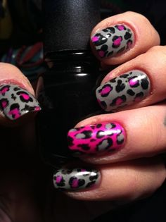 Pink & Grey Leopard Nails