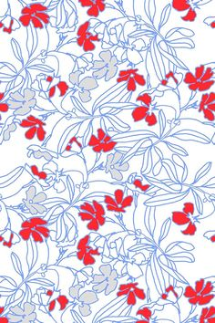 Summer Floral design in blue and vermillion red by joanmclemore. Beautiful bright and classic floral design with fine lines and bright red blooms.