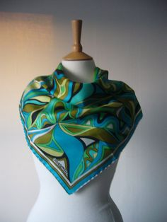 60s+70s+Jacqmar+Silk+Scarf+Blue+Green+Hand+Rolled+by+Cabinet49,+$42.00