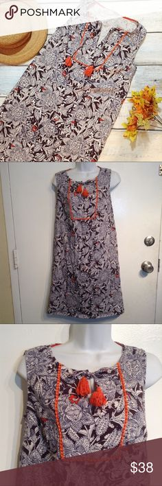 """BODEN Floral Mandala Line Work Tassel Tie Dress Boden brown white and orange floral mandala print dress with ties and tassels at neckline. Cute rickrack trim. Slight v neck. Boho chic print. Size 8L. Measures 17.5"""" flat from armpit to armpit and 35.5"""" long. No modeling. Smoke free home. I do discount bundles. Boden Dresses"""