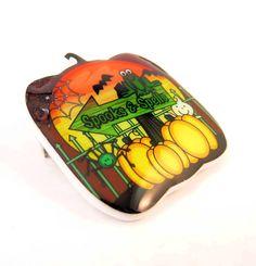 Halloween Brooch.  Halloween Pumpkin Bat and by outspokenjewelry, $9.99