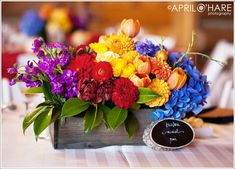 [ Rainbow Colored Wedding Evergreen Lakehouse Denver Wedding 7 ] - Best Free Home Design Idea & Inspiration Rainbow Wedding Centerpieces, Rainbow Centerpiece, Wood Box Centerpiece, Wedding Arrangements, Flower Centerpieces, Floral Arrangements, Flower Arrangement, Wedding Centrepieces, Wedding Decorations Pictures