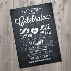 Modern meets vintage, simple, chalkboard wedding invite postcard.