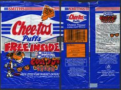This is an interesting UK release of an American export - Cheetos Puffs. Released by Smiths in the UK (as opposed to Frito-Lay here in the States), these retain Chester Cheetah. Chester Cheetos, Cheetos Puffs, Corn Puffs, Frito Lay, Fun Cards, Vintage Packaging, Will Smith, Cheetah, Crisp