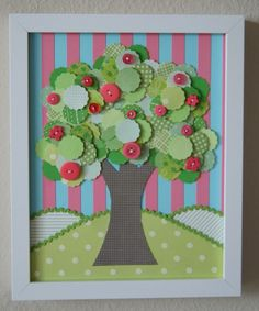 Paper Tree Collage  Coral Tree Too by studiohappynest on Etsy