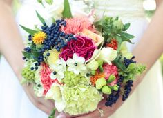 A wild flower bouquet would be lovely. And I actually like these brights!