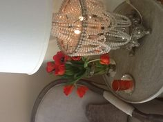 Beautiful vintage lamp and flowers