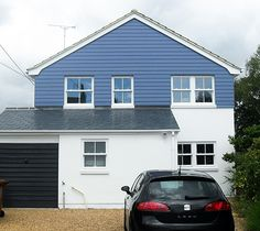 Exterior finishes (not keen on the blue but like the mix of weatherboard + render)  | Real Homes
