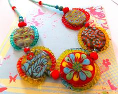 Glass Lampwork Necklace by Maureen Nugent.