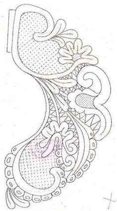 ampliar Cutwork Embroidery, Embroidery Stitches, Embroidery Patterns, Crochet Lace, Crochet Stitches, Lace Dress Pattern, Lace Stencil, Tambour Beading, Bobbin Lace Patterns
