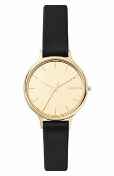 Main Image - Skagen Anita Leather Strap Watch, 30mm