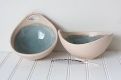 not sure why i love bowls so much; beige and turquoise bowls ceramic pottery handmade