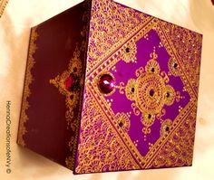 Henna Art inspired keepsake jewelry box in bohemian purple with gem stones.