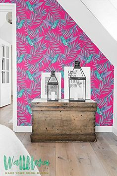 Palm Areca And Calibri Birds Print Wallpaper  Removable Wallpaper  Tropical Wall Sticker  Palm Leaves And Calibri Self Adhesive Wallpaper * More info could be found at the image url.