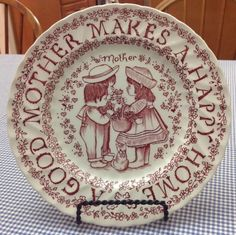 Royal Crownford A Good Mother Makes A Happy Home Plate by Norma Sherman ~ Red