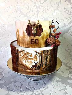 For hunter - Cake by Frufi Cake Decorating Techniques, Cake Decorating Tips, Hunting Birthday Cakes, Hunting Grooms Cake, Western Cakes, Deer Cakes, Chocolate Strawberry Cake, Farm Cake, Retirement Cakes
