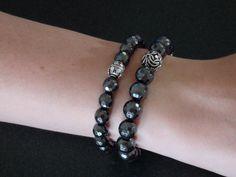 Faceted Hematite stretch bracelet