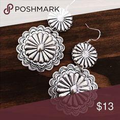 Silver Concho Earrings Brand new silver Concho Dangle Earrings. Tags: country girl cowgirl jewelry boots western jewelry earrings Boho gypsy tribal Aztec Navajo southern southwest western rodeo cowgirl style Jewelry Earrings