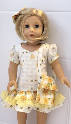 Bee-utiful Bees and Sunflowers! A Dress with Purse, and Hair Bow for Girl Do… - American Girl Dolls